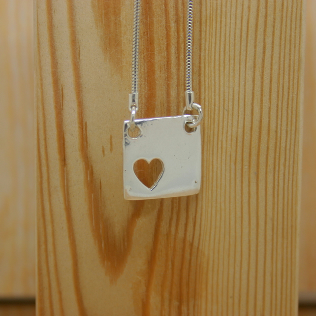 Fine Silver Square Heart Necklace