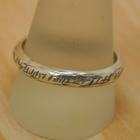 Sterling silver textured wedding band size Y half