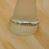 Sterling silver textured wedding band size 4