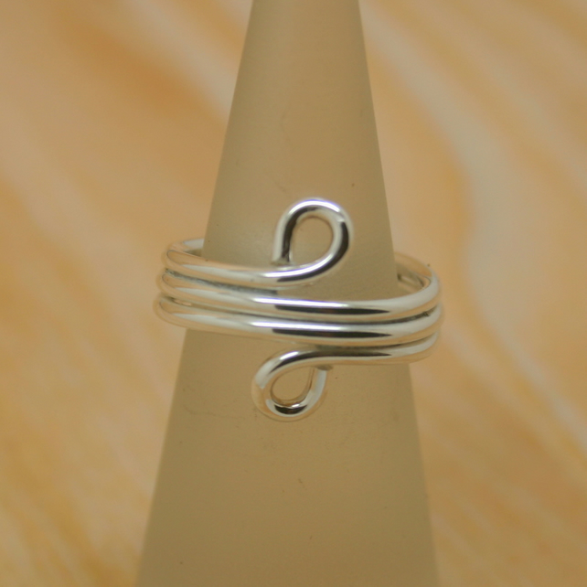 Wire wrapped sterling silver ring size H