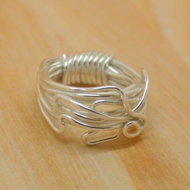 Sterling silver wrapped wire ring size K