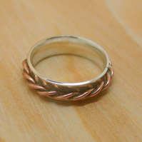 Sterling silver faux spinner ring size O