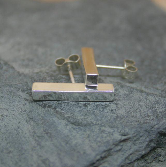 Sterling silver stud bar earrings