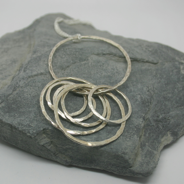 Sterling Silver textured circles necklace