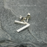 Sterling silver square bar stud earrings