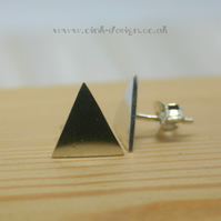 Sterling silver triangle bar stud earrings