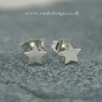 Small sterling silver star stud earrings
