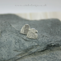 Fine silver heart stud earrings