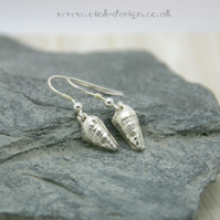 Fine silver sea shell drop earrings