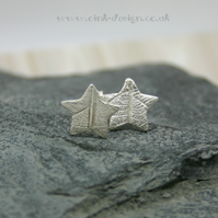 Fine silver star stud earrings