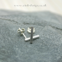 Sterling silver thin square bar stud earrings