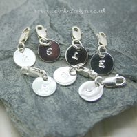 Hand stamped sterling silver charms