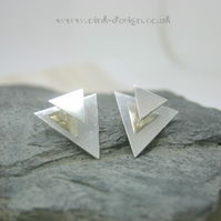 Sterling silver triangle stud ear jackets.