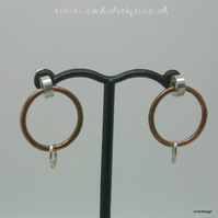 Sterling silver and copper circle stud earrings