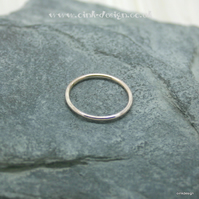Sterling silver round thin ring band sizes P, P half, Q