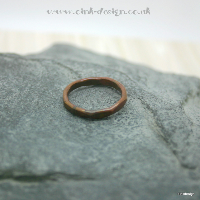 Hammered copper ring size O