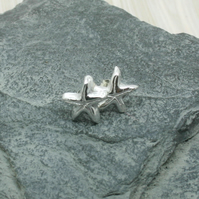 Fine silver starfish stud earrings