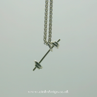 Sterling Silver dumbell on a sterling spiga chain