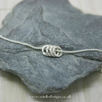 Sterling Silver hammered circles on a sterling silver spiga chain