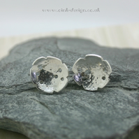 Abstract lunar sterling silver stud earrings