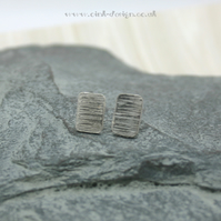 Textured rectangle sterling silver stud earrings