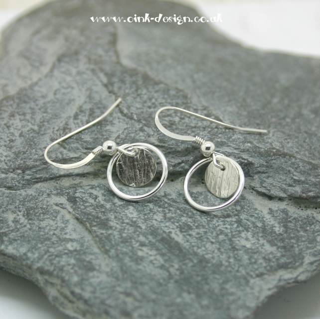 Sterling silver drop earrings, hammered disc and circle