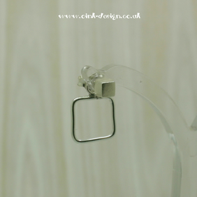 Sterling silver cube stud ear jackets with an open square back
