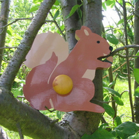 Childrens painted coat hook - Squirrel