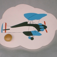 Childrens painted coat hook - Aeroplane