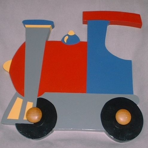 Childrens painted coat hook - Train