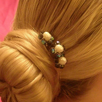 Bridal, bridesmaid, prom hair accessory, black crystals and cream freshwater pea