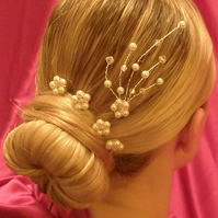 Bridal, bridesmaid, prom swarovski pearl and crystal hair accessory
