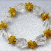 Sale item. 50% off Yellow & Clear Beaded Bracelet