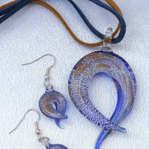 Sale 30% off. Blue,silver pendant and matching earrings