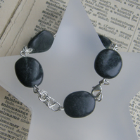 Sterling Silver Chainmaille and Obsidian Rock Bracelet