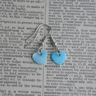 Summery Blue Mother of Pearl Heart drop earrings