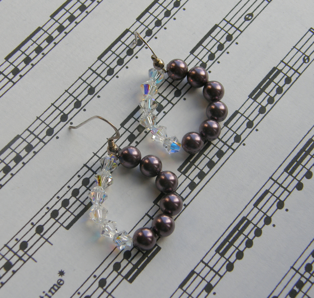 Sterling Silver Swarovski Pearl and Crystal drop earrings