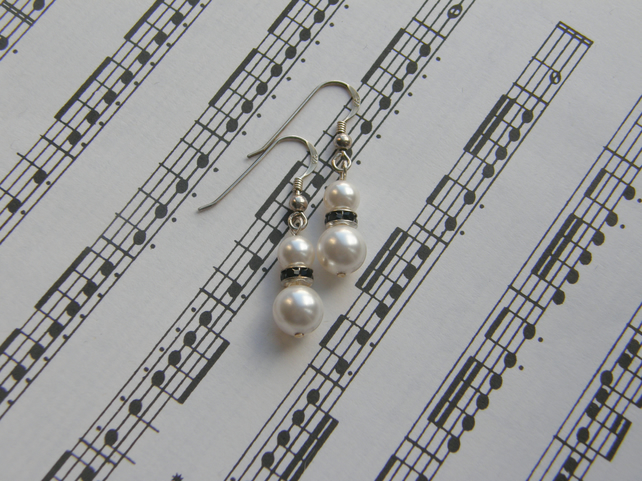 Sterling Silver Swarovski Pearl and Crystal rondelle drop earrings