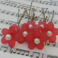 Red flower hair pins Brides, Bridesmaids, Flower Girls, Proms, set of 8