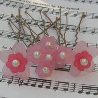 Pink flower hair pins Brides, Bridesmaids, Flower Girls, Proms, set of 8
