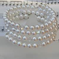 Swarovski Pearl and crystal memory wire bracelet.
