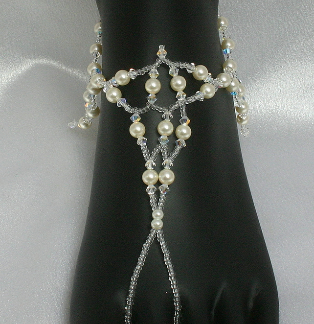 Stunning bridal foot accessories, footless sandels, foot and ankle accessories