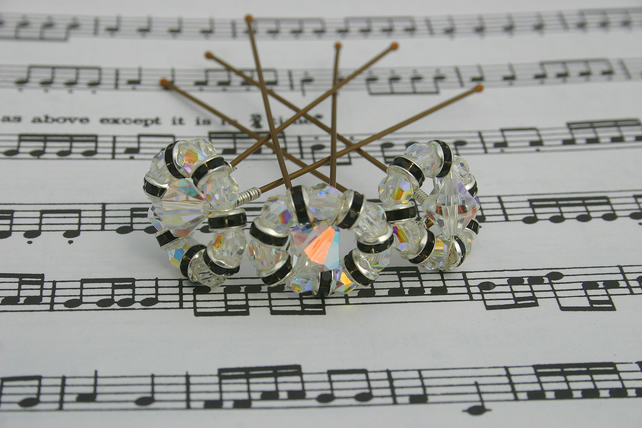 Black & clear swarovski hair pins Brides, Bridesmaids, Proms, set of 3