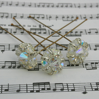 Clear swarovski hair pins Brides, Bridesmaids, Proms, set of 3