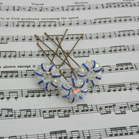 Blue & clear swarovski hair pins Brides, Bridesmaids, Proms, set of 3