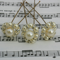 Ivory Pearls & clear swarovski hair pins Brides, Bridesmaids, Proms, set of 3