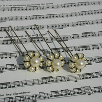 Ivory Pearls & black swarovski hair pins Brides, Bridesmaids, Proms, set of 3
