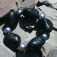 Sale item. 50% off Black Nugget and Grey Pearl Beaded Bracelet
