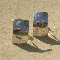 Patterned sterling silver stud earrings
