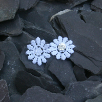 White lace flower earrings